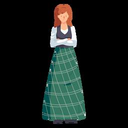 Woman scottish skirt flat