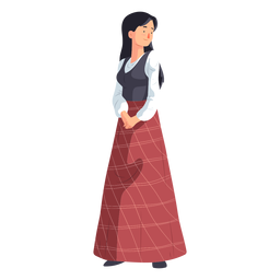 Woman skirt scottish flat
