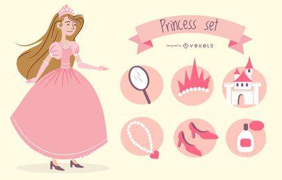 Conjunto de ilustración de elementos de princesa