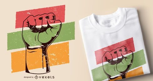 Schwarzer Geschichtsfaust-T-Shirt Entwurf