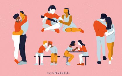 Conjunto de caracteres de casais dia dos namorados