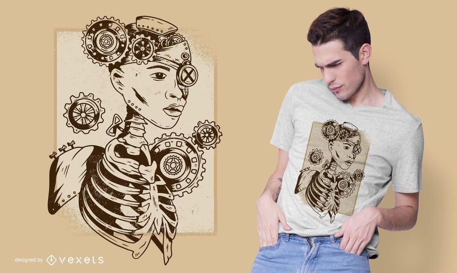 Steampunk human t-shirt design