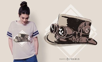 Diseño de camiseta Steampunk top hat
