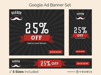 Barber shop ad banner set