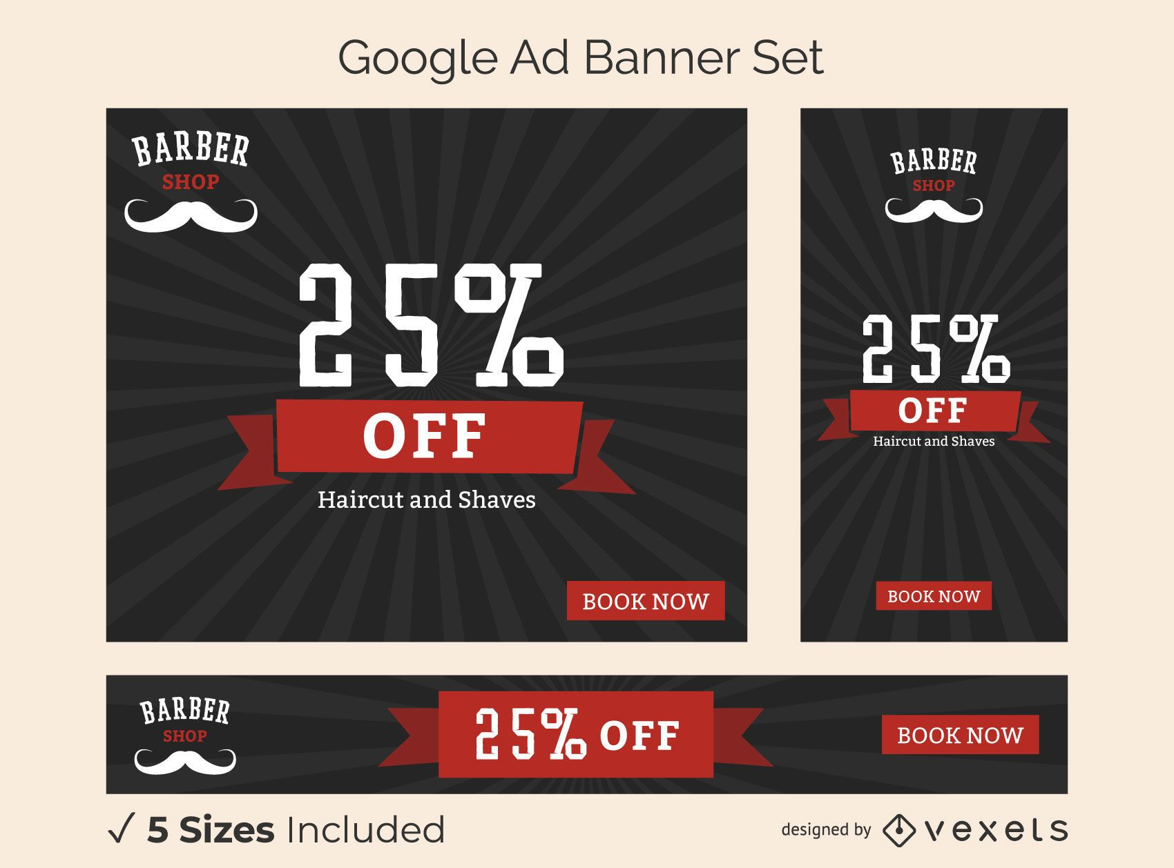 Barber shop ad banner set