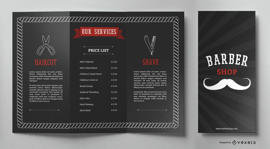 Barber shop brochure template