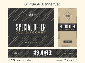 Barber shop vintage ad banner set