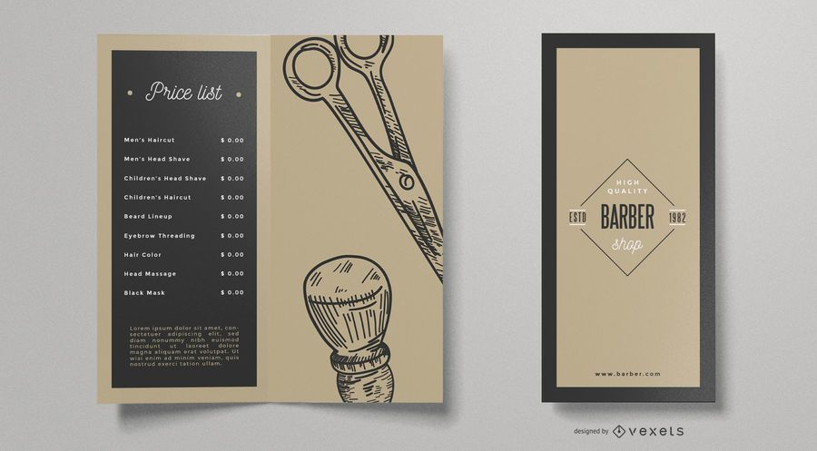 Barber shop vintage brochure template