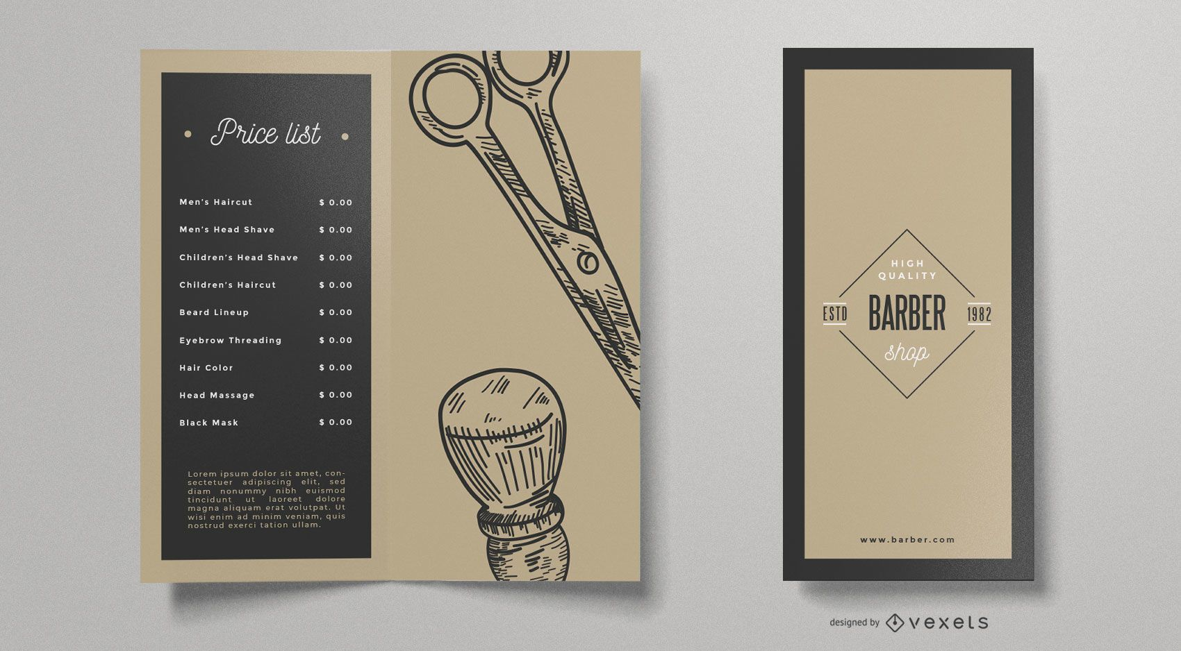 Modelo de folheto vintage de barbearia