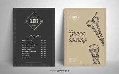 Barber shop vintage poster template