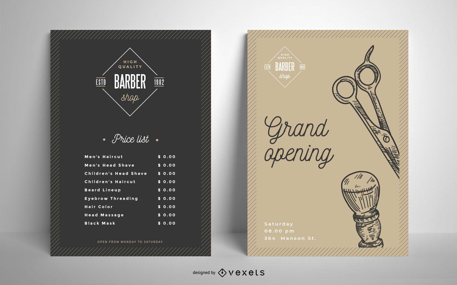 Barber shop vintage poster template