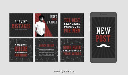 Conjunto de post de mídias sociais de barbearia