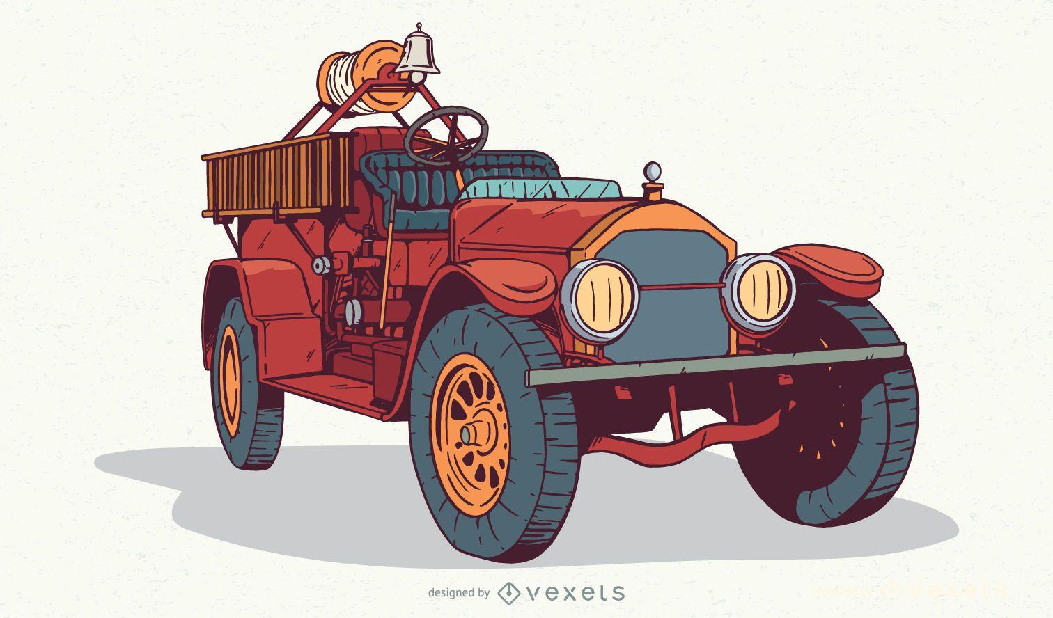Ilustración de camión de bomberos vintage