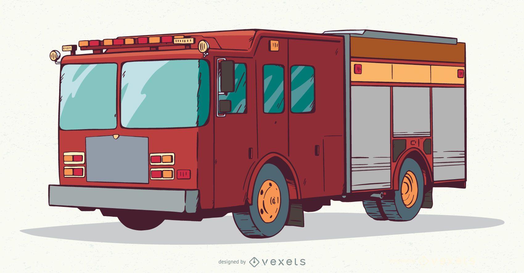 Fire truck illustration design