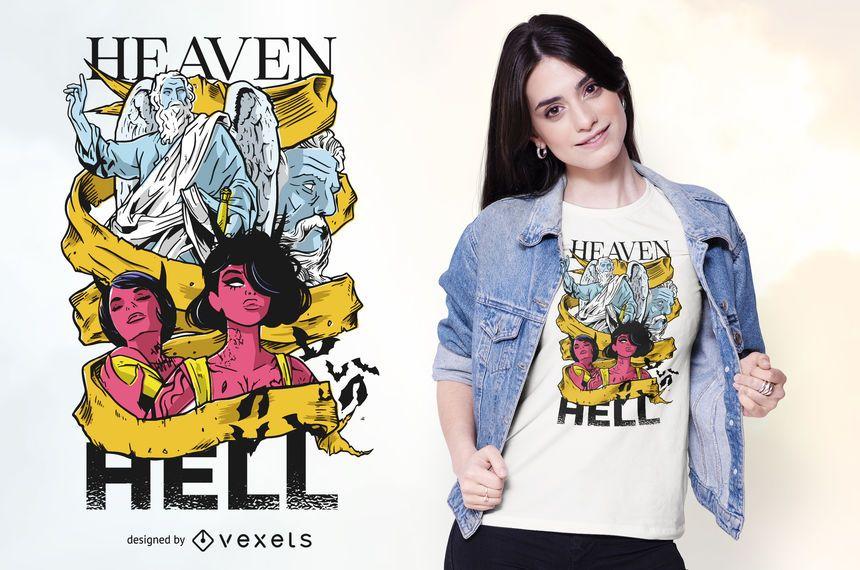 Design de t-shirt do céu e o inferno