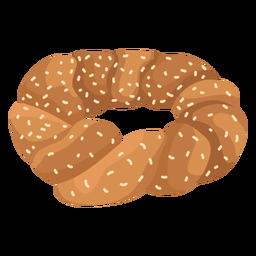 Pan de bagel sésamo plano