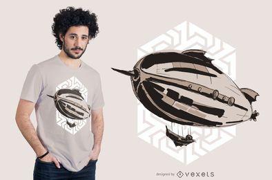 Design de t-shirt de dirigível steampunk