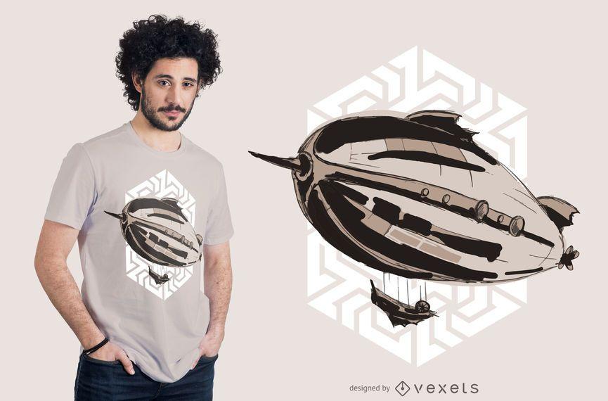 Steampunk airship t-shirt design