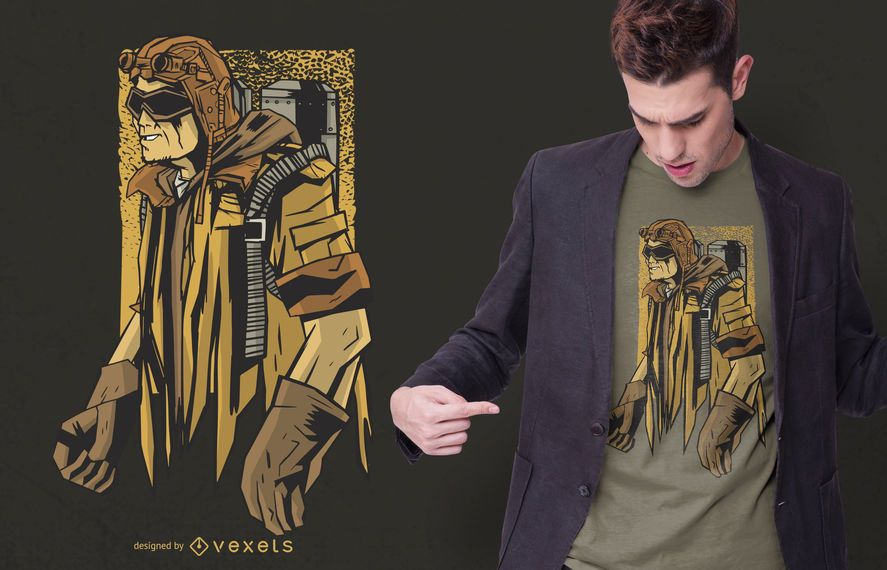 Steampunk man t-shirt design