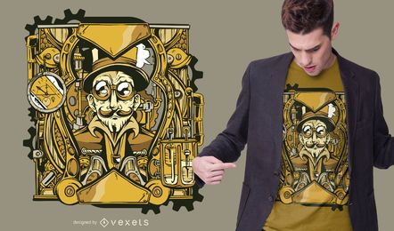 Design de t-shirt de personagem steampunk