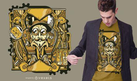 Diseño de camiseta de personaje Steampunk