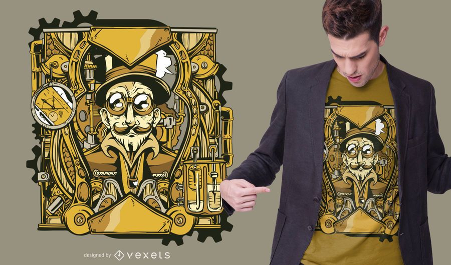 Steampunk character t-shirt design