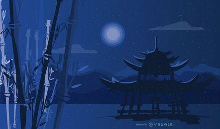 Diseño del paisaje nocturno de bambú del santuario sintoísta