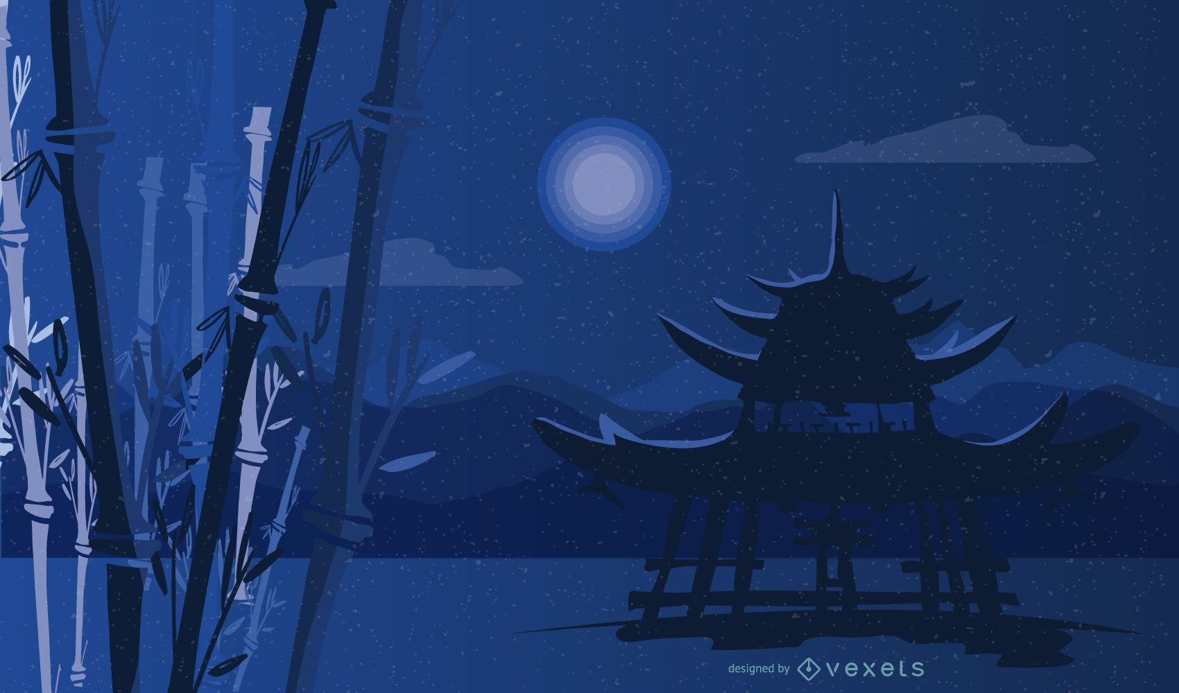 Diseño de paisaje nocturno de bambú del santuario sintoísta