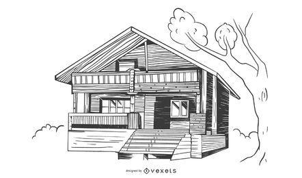 Diseño de edificio de casa de bambú