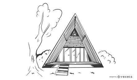 Diseño de construcción de casas de triángulo de bambú