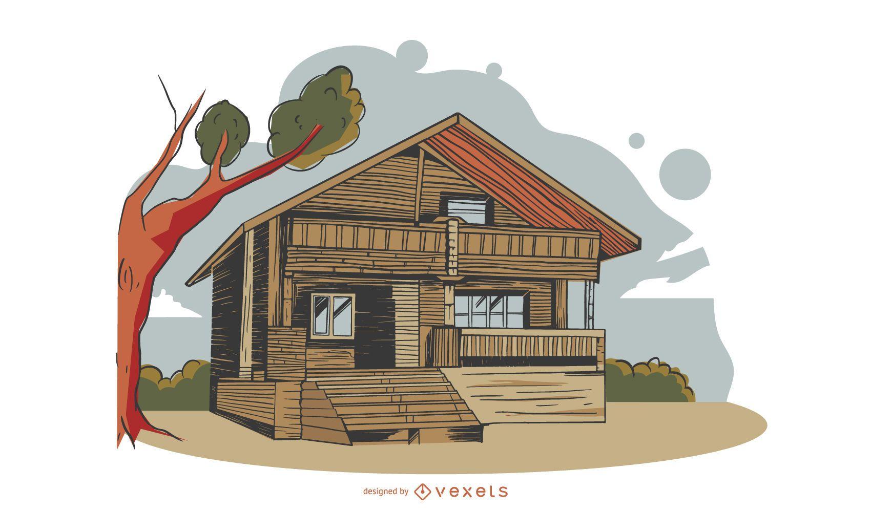 Diseño de edificio ecológico a color