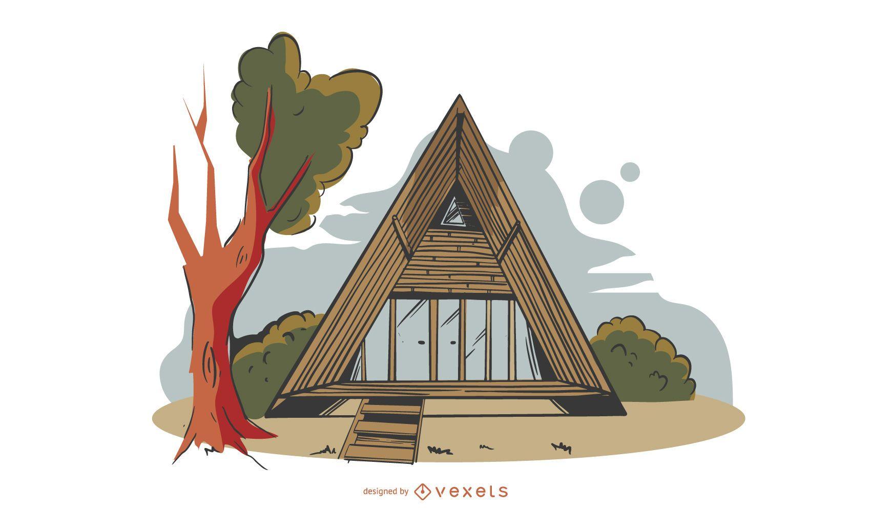 Diseño de edificio ecológico triangular de colores