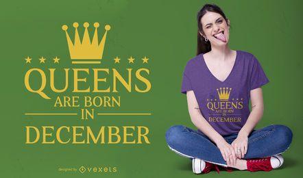 Design de camisetas editáveis das rainhas de dezembro