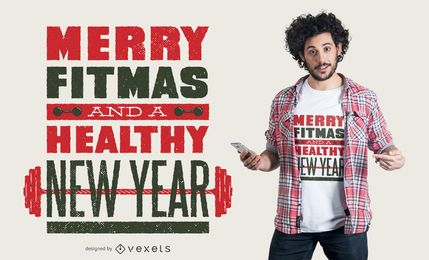 Diseño de camiseta Merry Fitmas quote
