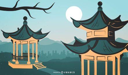 Ilustração da arquitetura tradicional chinesa