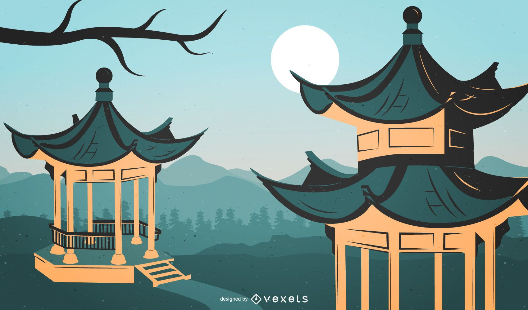 Traditional chinese architecture illustration