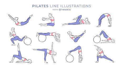 Colección de ilustraciones de la línea Pilates