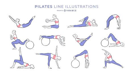 Pilates line illustrations collection