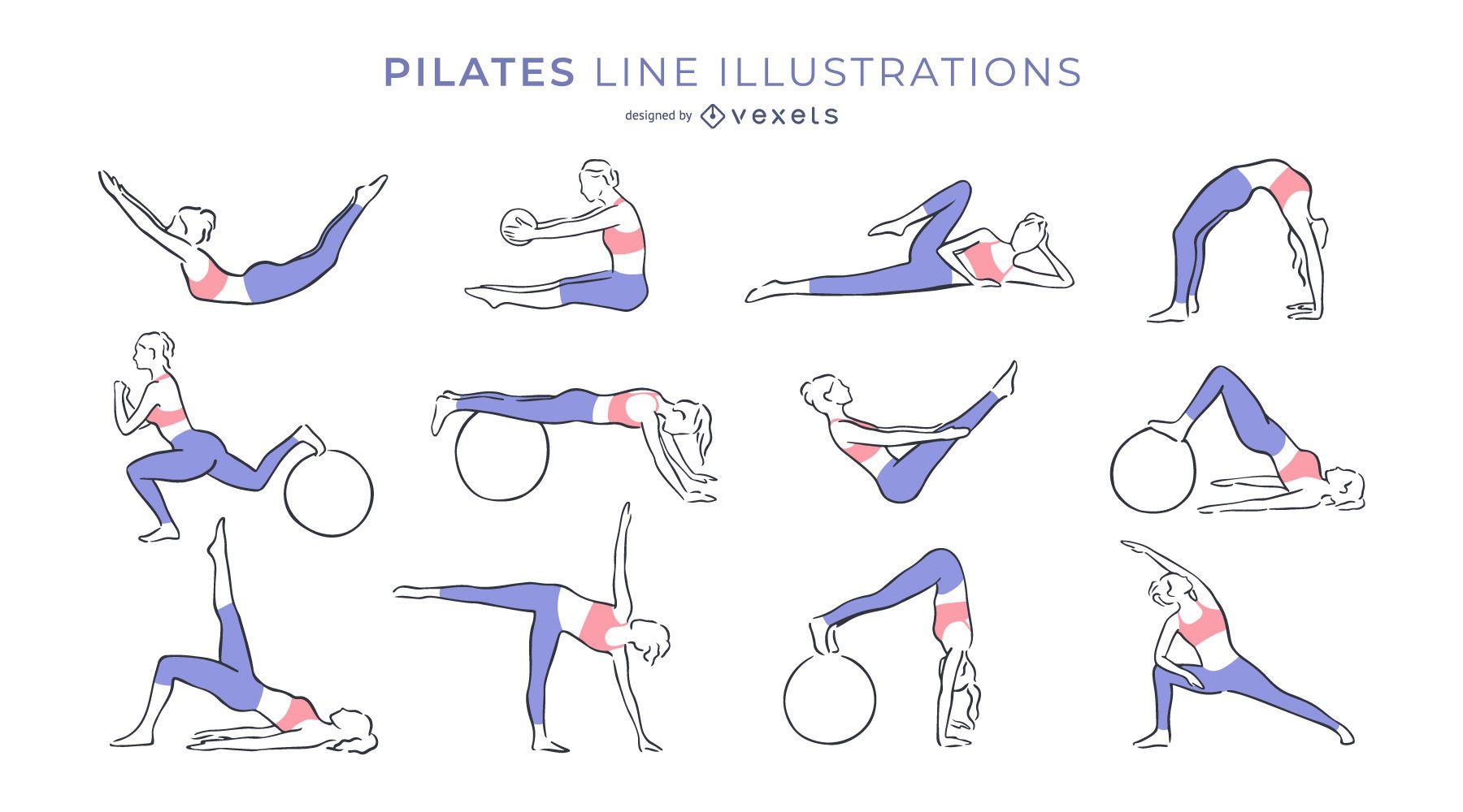 Colección de ilustraciones de línea de pilates