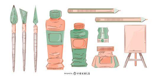 Conjunto de ilustração de materiais de arte