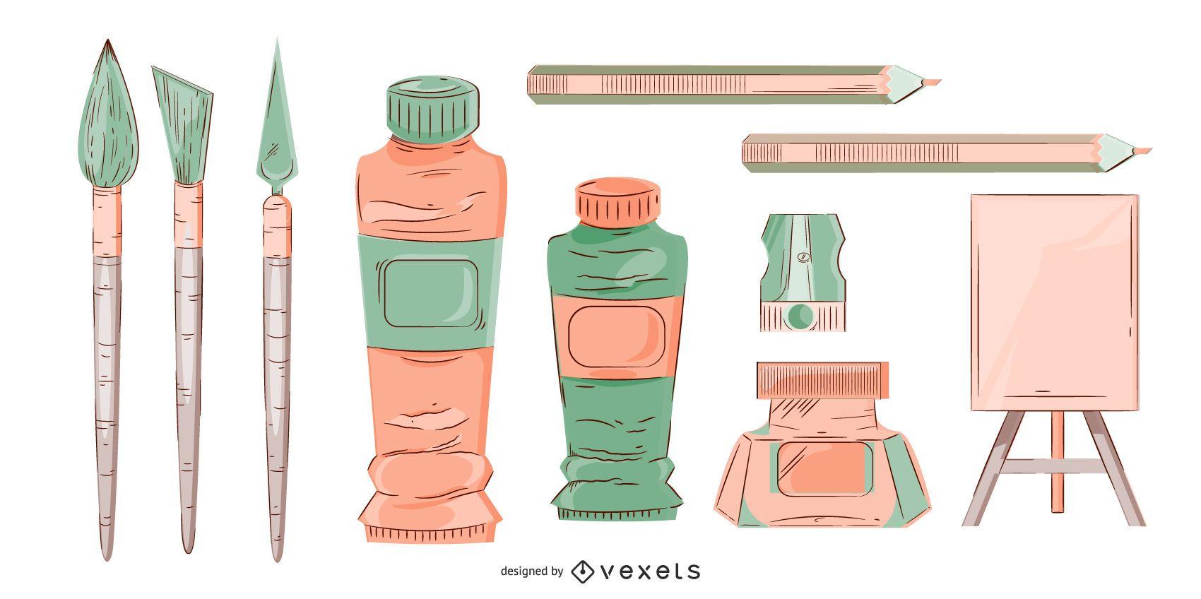 Conjunto de ilustración de suministros de arte