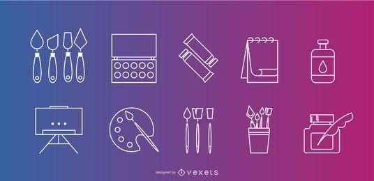 Conjunto de iconos de elementos de artista