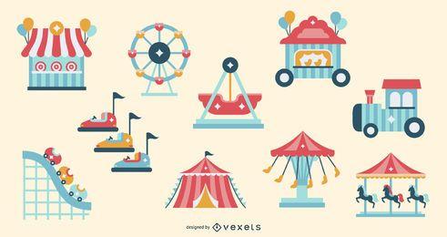 Conjunto de elementos planos de atração de carnaval