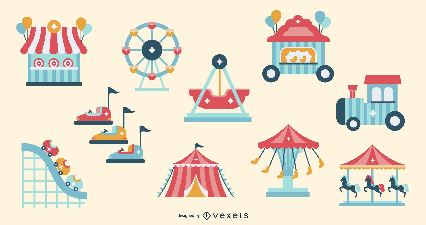 Conjunto de elementos planos de atracción de carnaval
