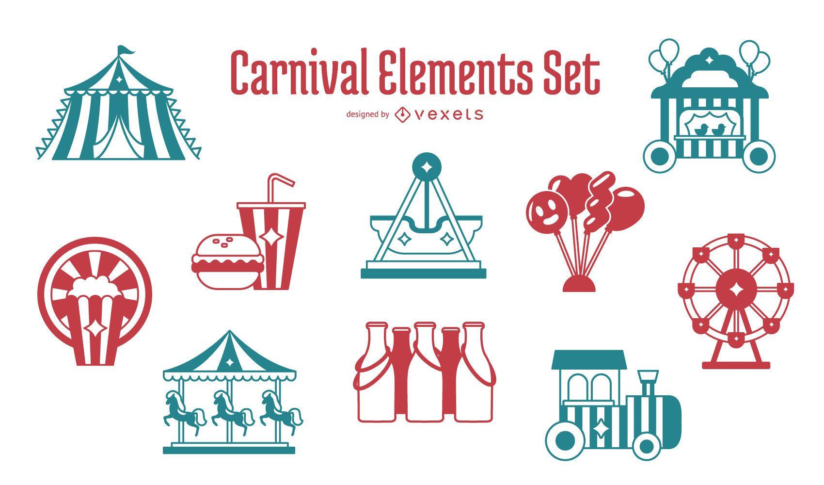 Conjunto de diseño de elementos de carnaval