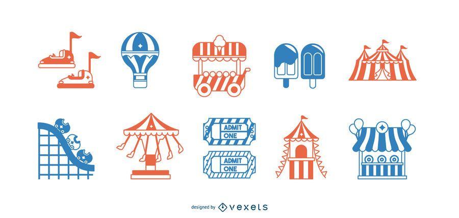 Amusement Park Attraction Elements Set