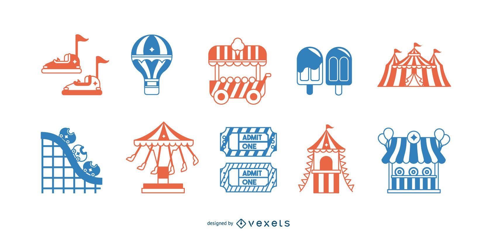 Conjunto de elementos de atração de parque de diversões