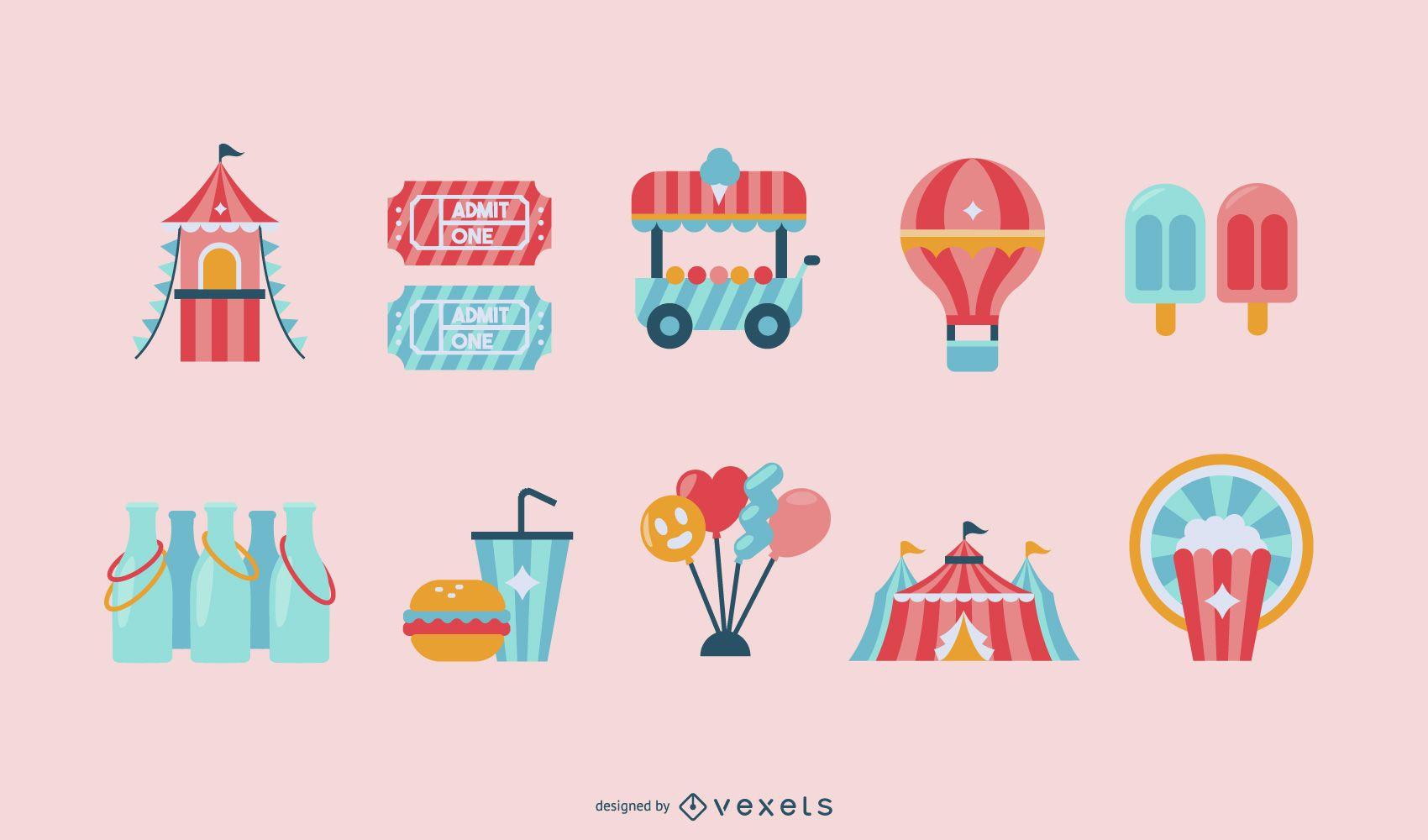 Conjunto de diseño de objetos coloridos de carnaval