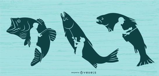 Conjunto de ilustração de pesca