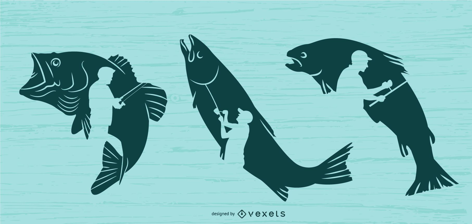Fishing illustration set
